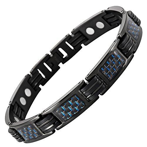 Willis Judd Bracelet Nouveau pour Homme, aimanté en Titane Noir avec incrustations de Fibre Carbone Bleue, emballé dans Une boîte Cadeau Gratuite en Velours Noir Outil Gratuit pour enlever Les Liens