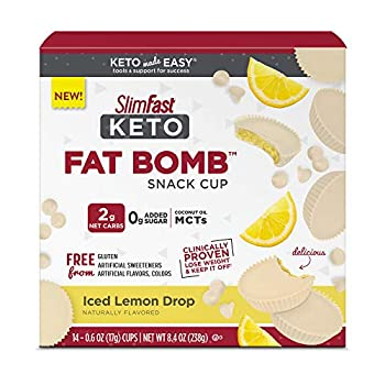 SlimFast Keto Fat Bomb Snack Cups - Iced Lemon Drop - 14 Count Box - Pantry Friendly