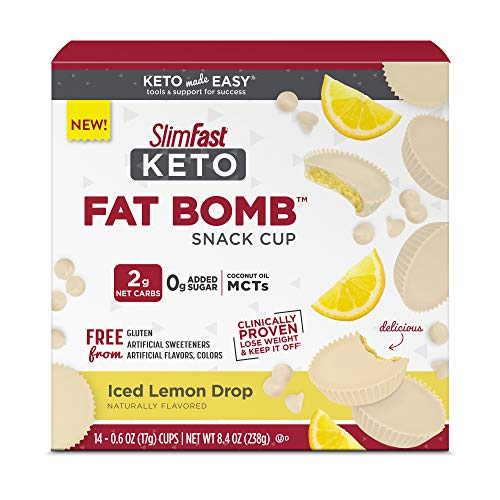 SlimFast Keto Fat Bomb Snack Cup - Iced Lemon Drop - 14 Count Box - Pantry Friendly