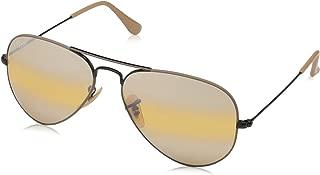 RB3025 Aviator Large Metal Sunglasses, Black & Matte Beige/Yellow Gradient Mirror, 58 mm