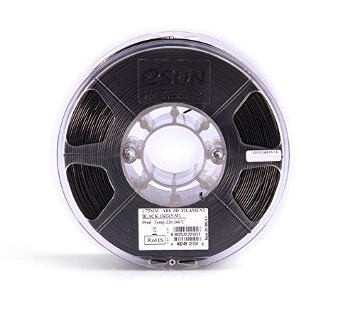 eSUN 1.75mm Black ABS 3D Printer Filament 1kg Spool (2.2lbs), Black