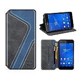 MOBESV Smiley Funda Cartera Sony Xperia Z3, Funda Cuero Movil Sony Xperia Z3 Carcasa Case con Billetera/Soporte para Sony Xperia Z3 - Negro/Azul Oscuro