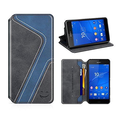 MOBESV Smiley Sony Xperia Z3 Hülle Leder, Sony Xperia Z3 Tasche Lederhülle/Wallet Hülle/Ledertasche Handyhülle/Schutzhülle mit Kartenfach für Sony Xperia Z3, Schwarz/Dunkel Blau
