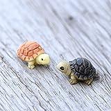 JONJUMP Juego de 2 piezas de decoración de simulación de tortuga de acuario accesorios linda resina para pecera, adorno de tortuga marina pequeña