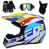 PKFG AO-330 Full face Motocross Helm, Adult Helm Sport Adventure Enduro Motorradhelme Motocross Schutzhelm Unisex MTB Schutz Sicherheit Helm mit Handschuhe Maske Brille,S52~53CM