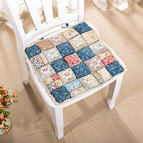 VIMOER Weiche, bequeme Stuhl-Sitzpolster, quadratische Stuhlkissen, Spitze, Blumenmuster, warme Stuhlkissen für Heimbüro (40 x 40 cm), baumwolle, 1210, 40*40cm