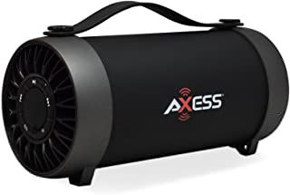 """AXESS SPBT1059 Portable Indoor/Outdoor Bluetooth Media Speaker with Built-In FM Radio Rechargeable Battery and 4"""" Subwoofer Black"""