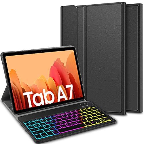 ELTD Tastatur Hülle für Samsung Galaxy Tab A7 (Deutsches QWERTZ), Hülle mit 7 Farben LED-Hintergrundbeleuchtung Kabellose Tastatur für Samsung Galaxy Tab A7 2020 10.4 Zoll (Coal)