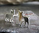 Frenchie French Bulldog Stud Earrings Polished Sterling Silver Handmade in USA