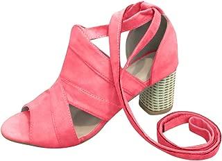 ✡ Women's Block Open Toe Ankle Strap Heeled Sandals Cutout Gladiator Ankle Strap Platform Block Heel Sandals Red