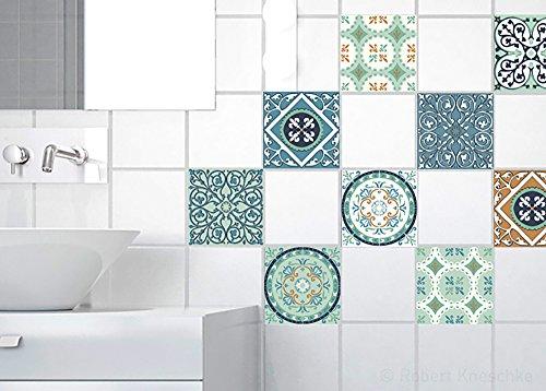 Plage 260109 Mosaicos hidraulicos verde [9 azulejos], 10x10cm
