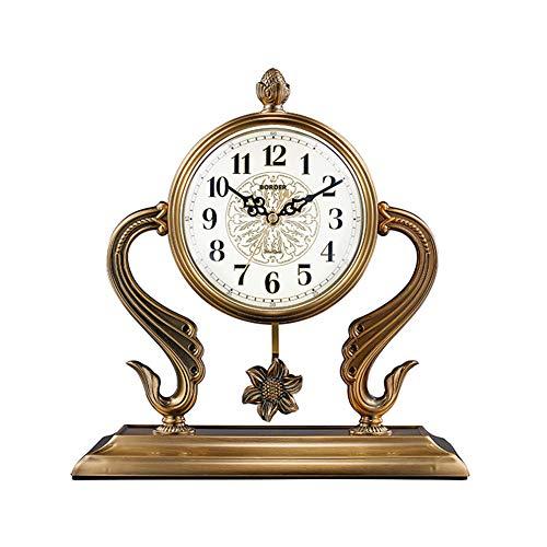 Reloj De Mesa Retro Europeo, Reloj De Recepción, Relojes De Escritorio del Reloj De La Vendimia, con Balanceo para Oficina, Decoración del Hogar, Regalo, Operado por Baterías,12