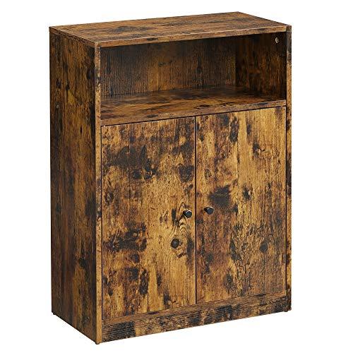 VASAGLE Industrial Storage Floor Cabinet, Door Adjustable Shelf Compartment, Particle Board, Rustic Brown, 23.6'W