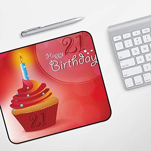 Gaming Mousepad Mauspad,21. Geburtstag Dekorationen, abstrakte Sonne Strahlen Hintergrund Party Cupcake mit Zuckerguss Bild, rot und o,Komfort Mousepad - verbessert Präzision und Geschwindigkeit
