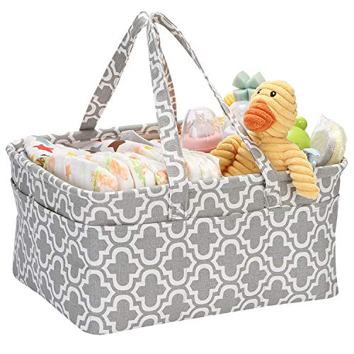 Hinwo Baby Windel Caddy 3-Compartment Infant Nursery Tote Aufbewahrungsbehälter Tragbare Organizer Neugeborenen Dusche Geschenkkorb mit abnehmbarem Teiler 12 unsichtbaren Taschen für Windeln