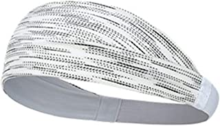Elastic Sports Headbands, Workout Sweatbands Ultimate Performance Stretch Moisture Wicking for Riding,Basketball,Running,Dancing,Pilates,White