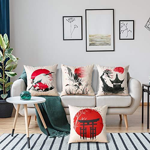 Artscope 4er-Set Dekorativ Kissenbezug 45 x 45 cm, Polyester Leinen Kissenbezüge Dekokissen Kissenhülle Set Kissen Fall für Sofa Auto Schlafzimmer Zuhause Dekor (Japanischer Stil A)