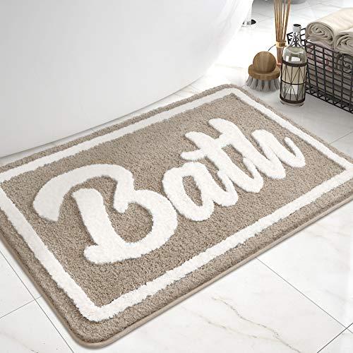 DEXI Tappeto da Bagno,Tappetino Antiscivolo per Il Bagno,Soffice Tappeto in Microfibra,Assorbente,Lavabile in Lavatrice,40 x 60 cm,Beige
