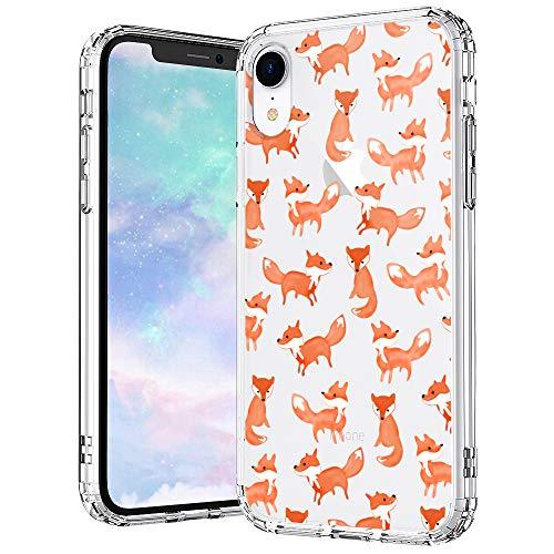 MOSNOVO iPhone XR Hülle, Fuchs Muster TPU Bumper mit Hart Plastik Hülle Durchsichtig Schutzhülle Transparent für iPhone XR (Fox)