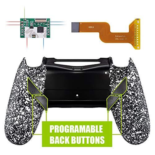 eXtremeRate DAWN Programable Remap Kit Botón de Reasignación para Playstaion 4 con Board de Actuelización&Carcasa Trasera Diseñada&4 Botones Traseros para Mando PS4 JDM 040/050/055(Salpicadura Blanca)