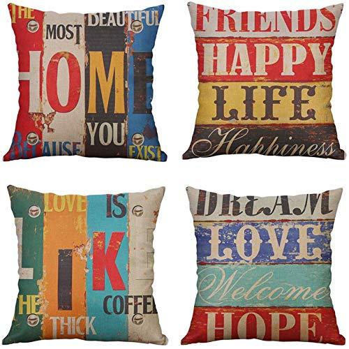MIULEE Juego de 4 Lino Cojines Vida Amorosa Funda de Cojín Almohada Caso de Decorativo Cojines para Sala de Estar sofá Cama18 x18 Pulgadas 45x45cm
