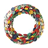ART & ARTIFACT Recycled Metal Wreath - Multicolor Flower Petals and Leaves
