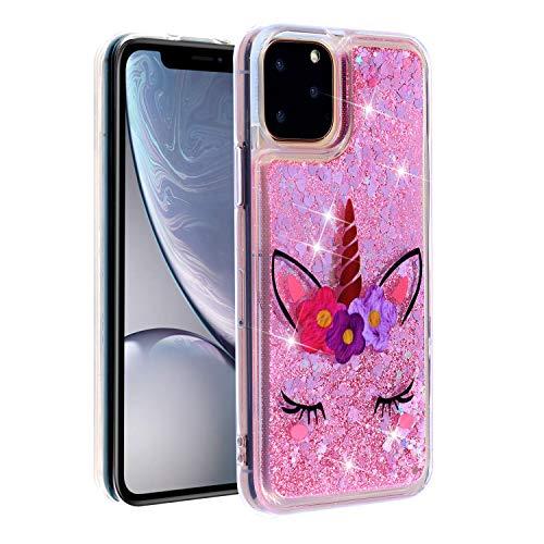 Rose-Otter Compatible pour Coque Apple iPhone 11 6.1 inch Housse Etui Liquide Paillette Brillante Silicone TPU Gel Antichoc Bumper Cover Transparente avec Motif Fleur de Licorne