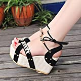 Tamaño 35-39 Moda Verano Cuero Gladiador Sandalias de Mujer Tacón Alto Zapatos con Cuentas Cuñas con Cordones Negro Dulce Punta Abierta