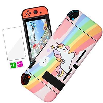 oqpa for Nintendo Switch Case Cute Kawaii Cartoon Design Cover, Fun Funny Unique Fashion Switch Game Shell for Girls Kids Women Screen Protector Glass+IMD Hard Cases for Nintendo Switch (Pink Unicorn)