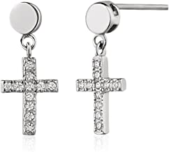 Rhodium Plated 925 Sterling Silver Modern Flat Circle Cubic Zirconia CZ Cross Dangle Cross Earrings