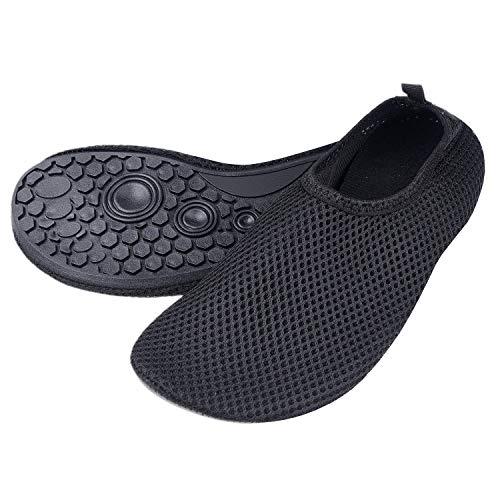 """Zapatillas de Agua para Mujeres – Extra Cómodas – Protegen contra la Arena, Agua Fría/Caliente – Calzado de Ajuste Fácil para Nadar (Negro) – (G)US para Mujeres: 8.5-9.5/Longitud de la Plantilla:9.84"""""""