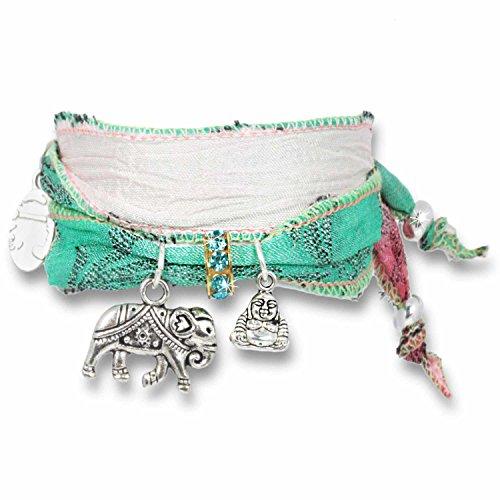 Anisch de la Cara Armband Mint-Rosé Delight - Joy & Happiness Glücksarmband aus indischen Saris Joy & Happiness - ArtNr. 2210-a