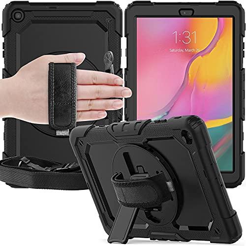 Funda de Tableta de Silicona de 360 rotación de rotación y Stand para Samsung Galaxy Tab A6 10. 1 Caso 2016 T580 T585 Cubierta Protectora-Negro_Porcelana