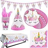 INTVN 48 pcs Vajilla de Unicornio, Suministros de fiesta de unicornio, Platos, Servilletas, Cubiertos Vajilla de cumpleaños Infantil para Unicornio Fiesta 6 Invitados