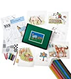 Kid's Equestrian Design Tracing, Drawing, and Coloring Kit with 12 Colored Pencils, Graphic Pencil, Vellum...