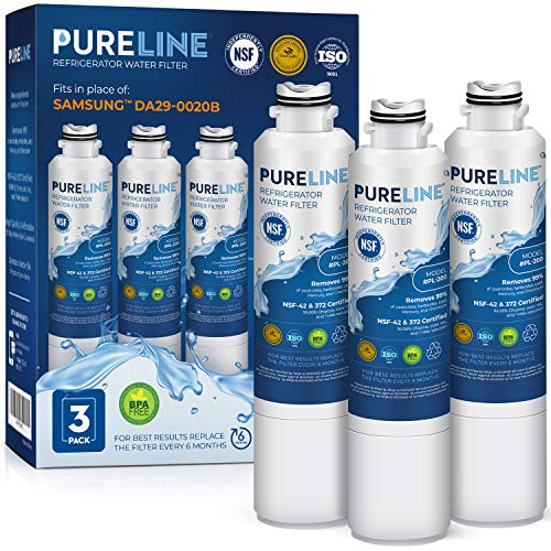 PURELINE DA29-00020B Refrigerator Water Filter Replacement. Compatible with Samsung DA29-00020B-1, DA29-00020B, Haf-Cin Exp, RF4267HARS, RF28HMEDBSR, RF28HFEDBSR, & More Models (3 Pack)