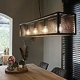 QAZQA Lámpara colgante industrial negra con malla 4 luces - Jaula Acero Rectangular Adecuado para LED Max. 4 x 60 Watt
