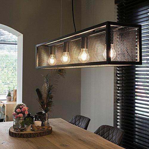 QAZQA Industrie/Industrial Industrielle Hängelampe schwarz mit Mesh 4-flammig-Licht - Käfig/Innenbeleuchtung/Wohnzimmerlampe/Schlafzimmer/Küche Stahl Rechteckig LED geeignet E27 Max. 4 x 40