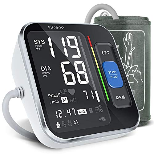 Fitreno Blood Pressure Monitor Upper Arm, Blood Pressure Cuffs for Home Use with Display and Heart Rate Detection for Adult