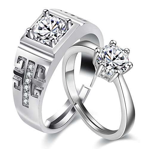 Uloveido Women and Men 2 Silver-colored adjustable engagement promise rings for couples of girls and boys Infinity wedding rings LB025