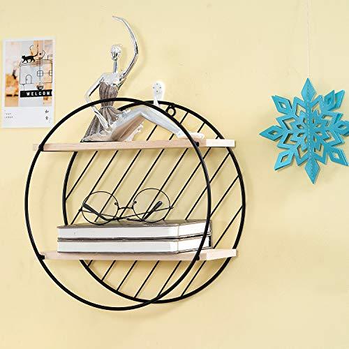 Oprety Ronde wandplank, zwevenplank, 30 x 30 x 12 cm, van hout en metaal, decoratief wandrek, ronde plank, ideaal voor hal, badkamer, keuken en woonkamer