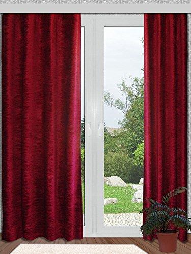SeGaTeX home fashion Thermo Chenille Deko-Vorhang Rot mit Universal-Reihband (Kräuselband) Thermo-Vorhang Deko-Schal 225 x 130 cm