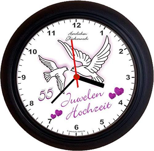 Lucky Clocks TAUBEN ZUR JUWELENHOCHZEIT 55. Hochzeitstag lila Wanduhren