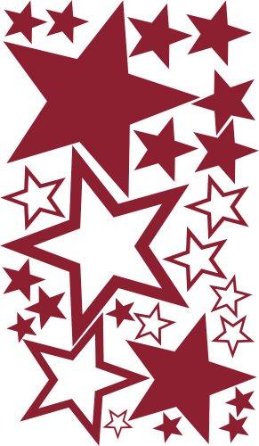 XXL-1A-Luxus Set Schaufenster 25 Stück Sterne Aufkleber DUNKELROT, ø 45-7 cm, 70003, Fensterdekoration zu Weihnachten Fensterbild / Fensteraufkleber, Wandtattoo Deko Sticker, Autoaufkleber, Weihnachtsdekoration, Schaufenster In- und Outdoor Sternchen, Geschäft, Ladendeko