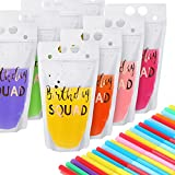 20 Pieces Birthday Squad Drink Pouch Bag with Straw Heavy Duty Hand-held Translucent Reclosable Zipper Smoothie Juice Pouches Stand-up Plastic Pouches for Birthday Party Kids Adults