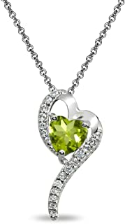 Sterling Silver Genuine, Created or Simulated Gemstone Heart Slide Pendant Necklace w/CZ Accents