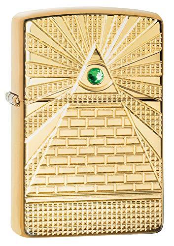 Zippo Eye of Providence Design, Accendino. Unisex-Adulto, Occhio di Provvidenza in Ottone Lucido, Taglia Unica