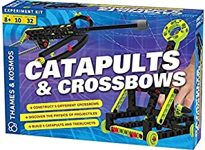 Catapults & Crossbows Science Experiment & Building Kit | 10 Models of Crossbows, Catapults & Trebuchets | Explore Lessons In Force, Energy & Motion using Safe, Foam-Tipped Projectiles
