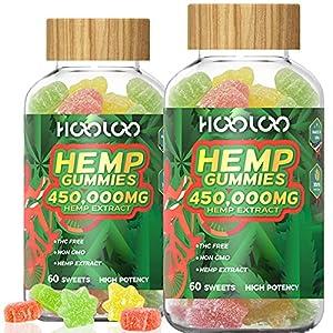 (2 Pack) Hemp Gummies, HOOLOO 450,000MG Natural Hemp Gummy for Relaxing, Sleep Better, Reduce Stress Anxiety, Fruity Hemp Extract Gummies, Made in USA