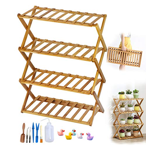ZEETOON 19 Inch 4 Tier Folding Plant Stands Foldable Planter Rack Small Flower Pot Base Natural Bamboo Shelf Succulent Plants Display Organizer Shelf with 7 PCS Gardening Tool Set and 5 Cute Duck